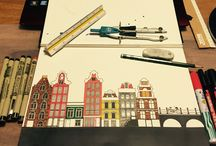 City sketch / Pensils and markers on paper