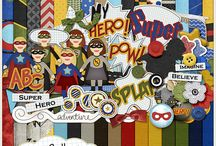 Superhero scrapbooking supplies / Digital scrapbooking supplies with s superhero theme