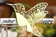 marque place oiseau ivoire mariage,porte nom ivoire ,etiquette ivoire
