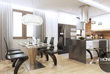 Nowoczesne wnętrze w ciepłych kolorach / Nasz najnowszy projekt to nowocześnie, minimalistycznie i przytulnie urządzone mieszkanie To, co nadaje mu takiego charakteru to jasne, ciepłe kolory mebli i dodatków, obecne pod różną postacią drewno oraz otwarte, duże przestrzenie kuchni, jadalni i salonu. Charakteru dodają czarne akcenty widoczne na meblach i i dodatkach.  Po więcej inspiracji zapraszamy na Naszą stronę internetową:biuro@monostudio.pl oraz na Facebooka