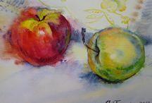 Овощи, фрукты акварелью