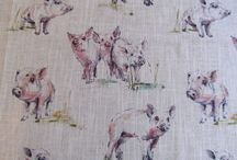Clarke and Clarke Linen Blend Curtain Fabric / A fabulous linen collection of farmyard animals...cows, pigs , wild deer, sheep and rabbits in subtle shades set against a light linen coloured textured background.   The soft draping linen blend fabric is suitable for blinds,cushions and curtains- ..the fabric will complement any soft furnishing project!