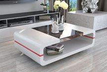 Modern Coffee Table Living Room Furniture White Black Glass Home Design Storage