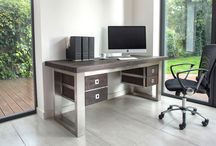 Mac+Wood Desk / The beautifully constructed Mac+Wood Desk.  A reclaimed wood top with brushed steel legs.
