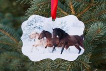 Holiday Horse Ornaments / Images of horses by Carol Walker are printed on a durable metal on two sides with a red satin ribbon to hang on your Christmas tree or on ceramic with a gold ribbon