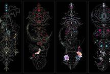 Life Collections / Serie de 8 obras en las que se aprecia la simplicidad de colores en la complejidad de sus formas.   La presencia de la imagen femenina junto a las flores y mariposas dan vida a esta colección.