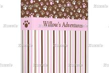 Brown and Pink Golden Puppy Dog Birthday / This collection features a cute golden  puppy or dog. The background consists of pink and brown paw prints and a brown and purple stripe ribbon.