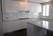 "White High Gloss Bulthaup ""System B1"" Kitchen. Carrera Marble. Gaggenau Appliances."