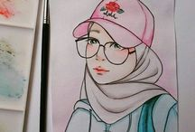 hijab anime art