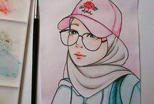 hijab anime art