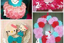 Hello Kitty / Hello Kitty themed birthday party ideas and cakes.