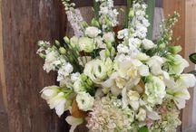 Rustic white wedding flowers