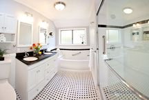 Bathroom Design 75 / A traditional black and white vintage inspired bathroom remodel.