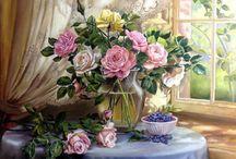 Любимые цветы в живописи