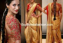 golden sari-blouse