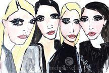 Fashion Art / Glamorous, fabulous, fashionable women.    Fashion illustrations by Michelle Vella