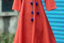 red cotton angarkha kurti