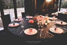 Black + Pink Chic Wedding / Glistening black sequin tablecloths cascading over tables, adorned with hues of pink florals encased in beautifully textured, mercury vases. Custom designed table numbers placed in clear frames, along with custom decorated favour boxes for each guest to enjoy. A truly extravagant affair accented by delicate lighting and illuminous chandeliers. Youtube: https://youtu.be/ZGfvIC_F36g