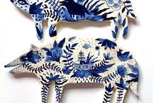 Ceramica white/blue