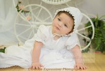 Girls Smocked Cotton Christening Gown / smocked bodice cotton long christening gown with matching bonnet http://www.christian-baby.com/
