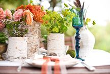 orange, purple, pink and green wedding flowers with rustic elements