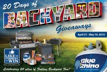 "Blue Rhino Giveaways / Blue Rhino gives away backyard products including gas grills, charcoal grills, fire pits, patio heaters and BBQ tools and accessories, as part of their email and Facebook promotions.  Sign up for ""Rhino Reminders"" at blrhino.co/rhinoreminders so you don't miss out!  / by Blue Rhino"