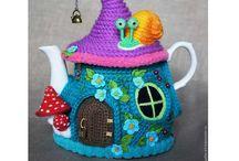 Crochet teapot houses