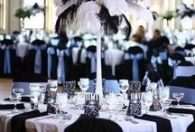 Black and White Themed Wedding  / Table settings, flowers etc in black and white .