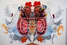 Grafitti, art and others! / Estudo sobre arte do Nychos, David Tevenal e outros!