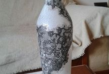WINE BOTTLES WITH MIX MEDIA