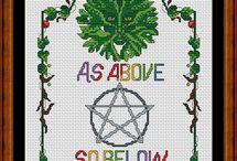 Cross stitch Wiccan symbols