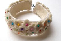 felt-embroidered bracelets