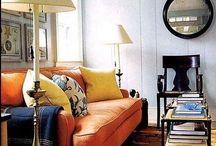 Orange sofas