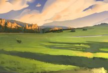 Illustrated Environment / Illustrated wide landscapes and beautiful places