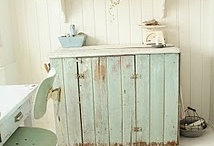 Aqua...Blue...Green...Teal... / I enjoy a pop of color in a white decor.  Here are some pretty pieces with beautiful colors.