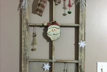 DIY Christmas windows / Give old windows a new use