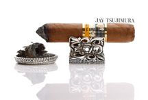 "Cigar ""Silver Cigar Leaves"" / handcrafted Cigar Rest and Cigar Ashtray"