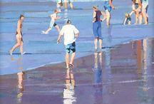 Taidetta aiheena rannat ja uimarit