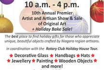 Artful Treasures 2016 / 10th annual Artful Treasures, artist & artisan show & sale of original art.  The best place to find holiday gifts for those who appreciate unique and beautiful objects crafted by Niagara region artists. Decorative Glass, Handbags, Hats, Jewellery, Painting, Wooden Objects and more!  In coordination with the Rotary Club Holiday House Tour.