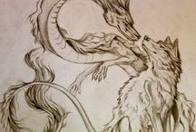 dragon and wolf drawing