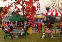 Miniature Lemax Carnival in the Park / The wandering carnivals of my youth would set up at local parks for a few weeks before moving on. When I decided to make a Miniature Lemax Village Carnival, I drew upon these memories for inspiration and ideas.
