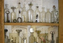 Old glass bottle display