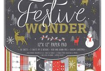 Dovecraft Festive Wonder / Embrace the festive season with dovecraft's luxurious papercraft collection, festive wonder. Chic and contemporary, find magical papers featuring illustrations of stags, trees, and snowmen amongst stylish festive patterns and a traditional Christmas colour palette. These papers are also embellished with scintillating Gold glitter designs for a touch of Christmas sparkle!