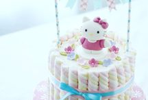Hello kitty cakes rainbow