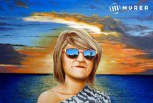 """Retrato para cristina. / Este es un trabajo que hice hace tiempo, en el cual queria salirme de los retratos habituales, creando un juego con el sol, ya que la figura lo tapa, pero en sus gafas se refleja otro atardecer menos bonito, como si toda la belleza del atardecer en realidad saliera de ella, y como si la nube principal hiciera de """"paraguas protector"""", puedes ver más trabajos mios en: http://murea.es/cuadros/"""