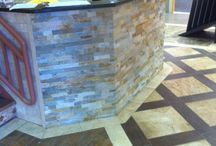 RECEPTION DESK - Ideas / Spruce up the office with tile.