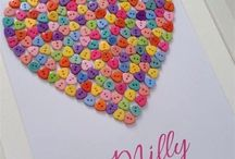 Button art hearts and love
