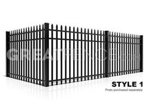 Aluminum Fence Styles (9) / 9 Aluminum Fence Styles -- matching single swing gates, walk gates, arched gates, double swing gates, driveway gates and estate gates are available.  Customize and Price online.