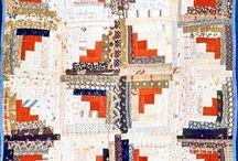 Antique quilts: Log cabins, Courthouse steps / Старинные квилты: Бревенчатый домик, Ступени в суд