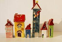 domki ceramiczne, świeczniki / ceramiczne domki, dekoracja wnętrz, świeczniki, przyciski do papieru